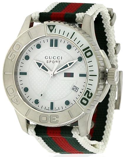 Gucci G TIMELESS SPORT - Reloj de cuarzo para hombre, con correa de nailon, color blanco: Amazon.es: Relojes