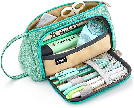 Amazon Com Easthill Large Capacity Pencil Case Pen Bag Pouch Holder Multi Slot School Supplies For Middle High School Office College Teen Girl Adult Simple Storage Mint Green Home Kitchen