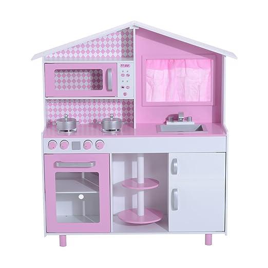 3 opinioni per HOMCOM- Cucina Giocattolo per Bambini con Accessori in Legno 110x32.5x99.5cm