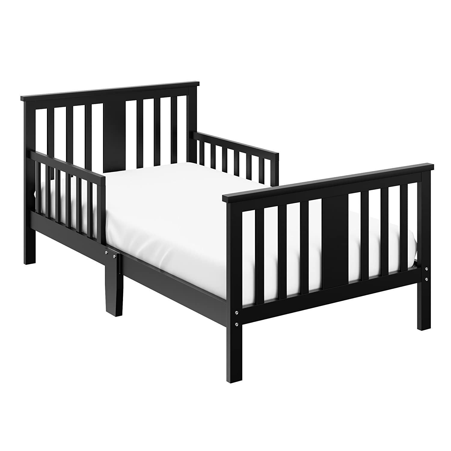 Storkcraft Mission Ridge Toddler Bed Black Fits Standard-Size Toddler Mattress, Guardrails on Both Sides for Protection, Meets or Exceeds all Federal Safety Standards, Pine & Composite Construction 05250-10B