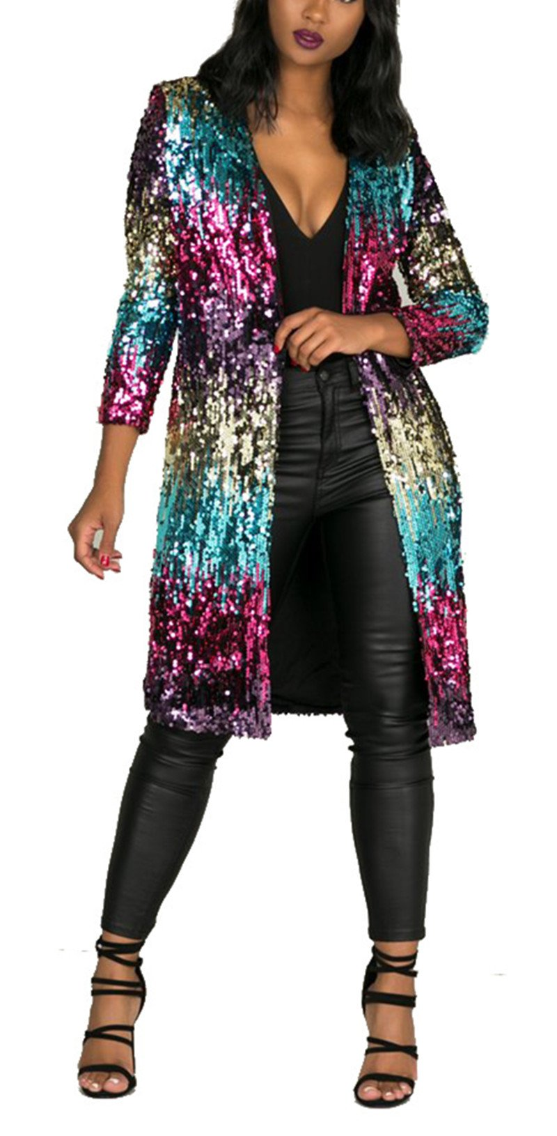Women's Spring Fall Cover Up Long Sleeve Sparkling Sequins Long Loose Open Front Cardigan Coat Party Club Stage Dress S by Fashion Cluster