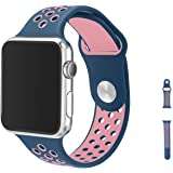 Apple Watch Armband 38mm, Evaline Serie 1/2 Sport Armbanduhr Silikonarmband Ersatzarmband Armband für Apple iWatch / Apple Uhr Nike + (38mm, Rosa & Mitternachtsblau)