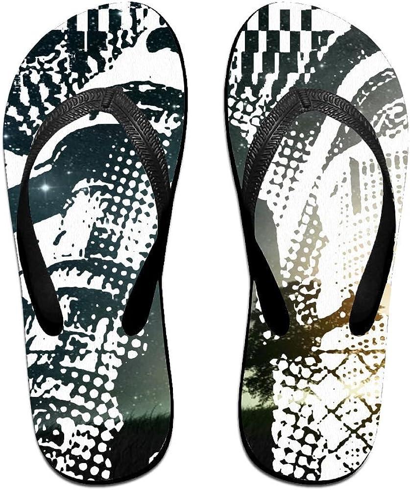 Z-YY Cool Music Womens Mens Lightweight Flip Flops Beach Slippers Shower Sandal