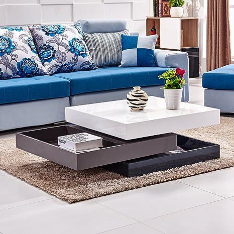 Moderno design laccato tavolino da caffè quadrato, 3 strati 360 ...