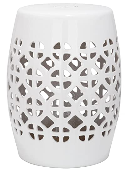 Gentil Safavieh Castle Gardens Collection Circle Lattice White Ceramic Garden Stool