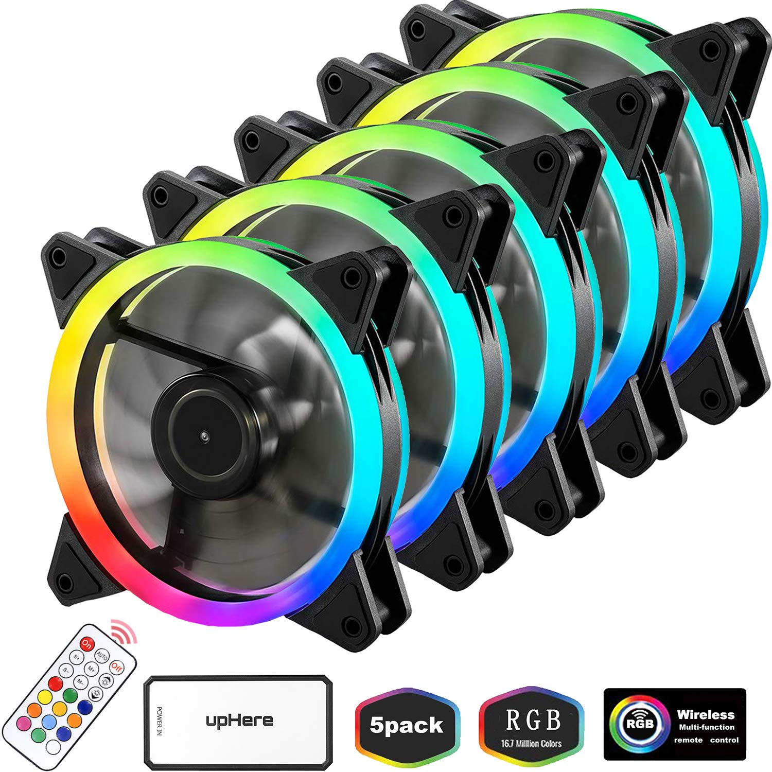upHere RGB Series Case Fan, Wireless RGB LED 120mm Fan,Quiet Edition High Airflow Adjustable Color LED Case Fan for PC Cases-5 Pack,RGB123-5 by upHere