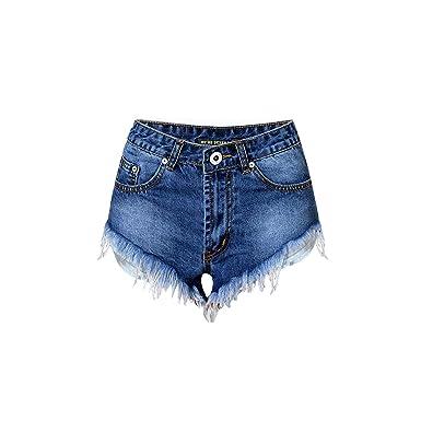Women solid Color Blue Short Cotton Pants High Waisted Denim Shorts Jeans