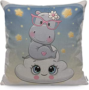Wozukia Hippo Throw Pillow Cover Cute Cartoon Hippo is Sitting on The Smiling Cloud Happiness Animal White Gray Blue Square Pillow Case Cushion Cover for Home Car Decorative Cotton Linen 18x18 Inch