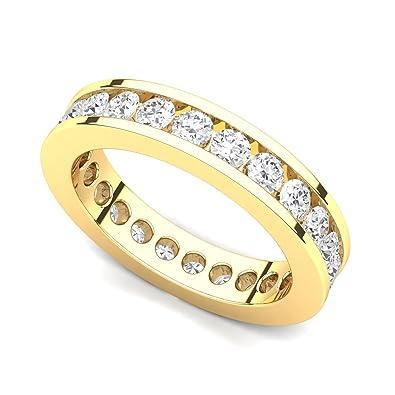 14 Karat Yellow Gold Dainty Pave Circle Diamond Band Ring Brilliant Facets