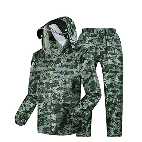 Camuflaje Capa de lluvia moto Traje de pantalón impermeable ...