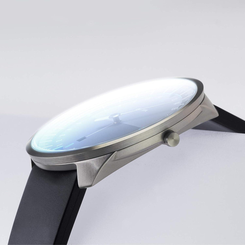 Botta-Design UNO 24 Plus titan armbandsur – 24 H visarklocka, titan, safirglas antireflex, läderband, 620 000 svart/blå