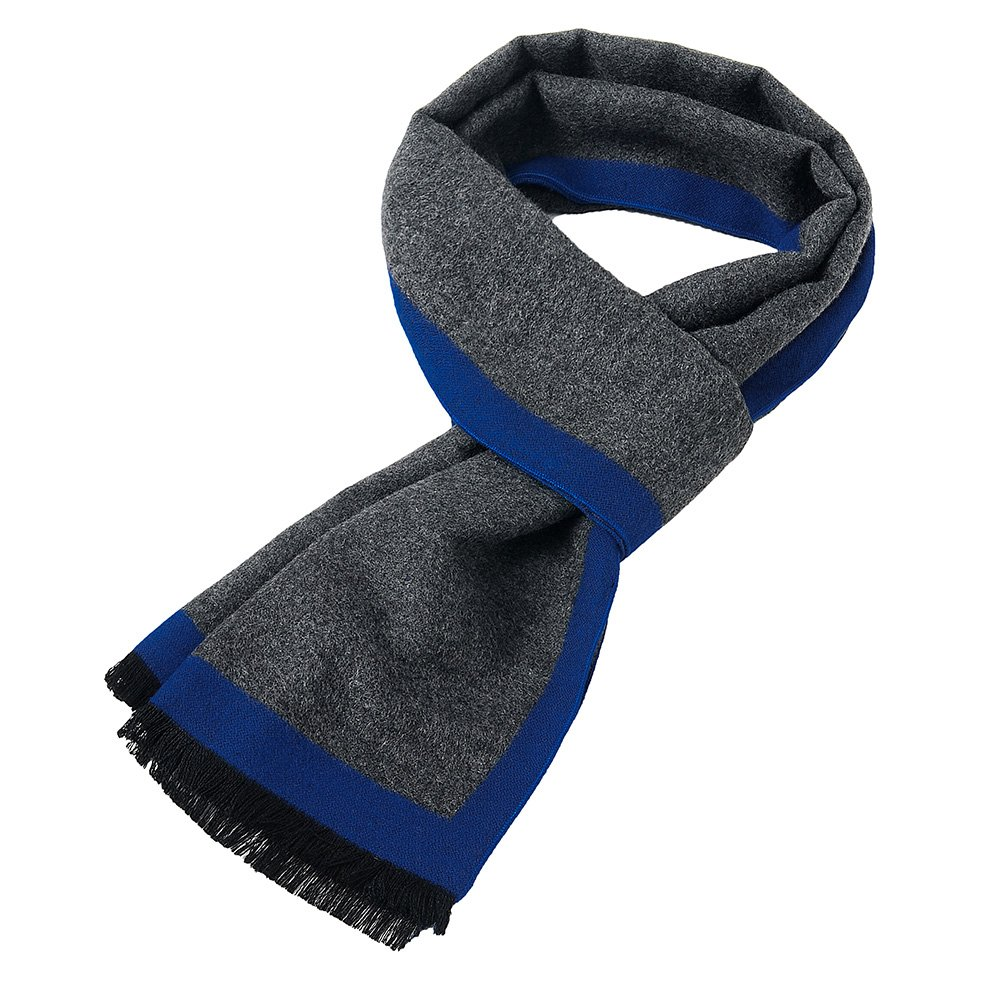 Duo Mens Soft Scarf For Autumn And Winter,Simple And Elegant Long Thick Plush Scarf (Gray-Black) (Gray-Blue) (Blue-Gray)