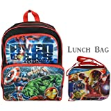 """Set Avengers Assemble 16"""" Cargo Backpack Plus Lunch Bag All Super Heroes"""
