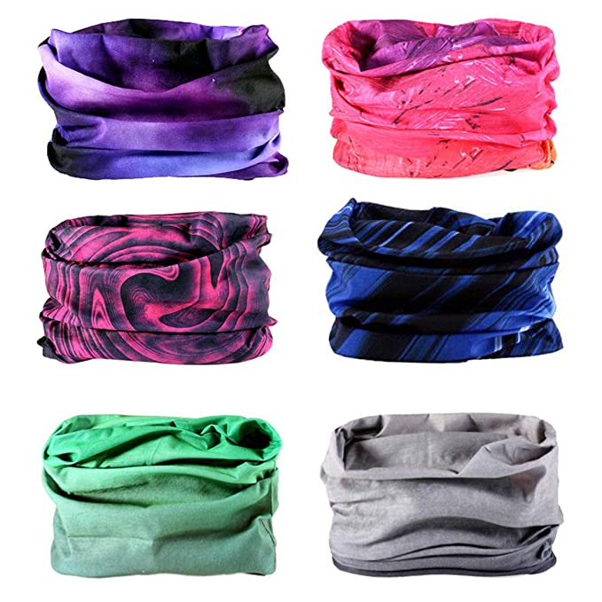 Toes Home 6PCS Outdoor Magic Headband Elastic Seamless Bandana Scarf UV Resistence Sport Headwear Boho Series for Yoga Hiking Riding Motorcycling best outdoor masks for women