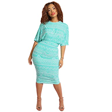 e63563e1eb22 Rebdolls Midi Dress with Oversized Top - ¾ Sleeve - Body Conscious Skirt  (Small)