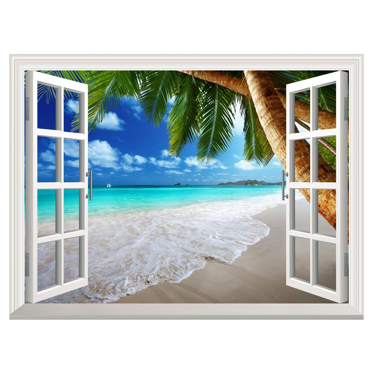 Uniquebella 3D Wall Murals Fake Window Decal Tropical Beach with Palm tree Creative Mural Home Decor 45''x60''