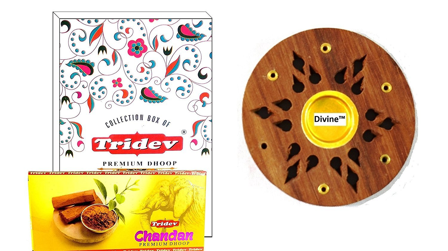Divine Incense Holder Free with Chandan Premium Dhoop Incense 1440 Grams Box | 12 Packs of 120 Grams in a Box | Export Quality by Divine