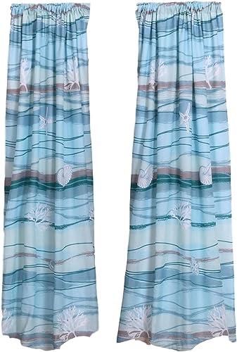 Coastal Seaside Beach Blue Window Panels Curtains Panels Pair 84 Length Set of 2