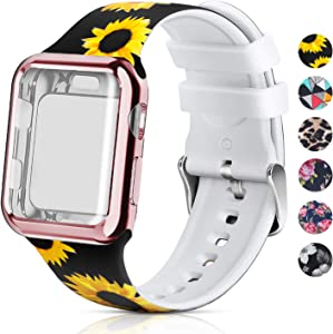 Compatible for Apple Watch Band 40mm Women with Screen Protector Case, Soft Silicone Sport Wristband for Apple Watch iwatch Series 6 5 4 SE (40mm, Sunflower)