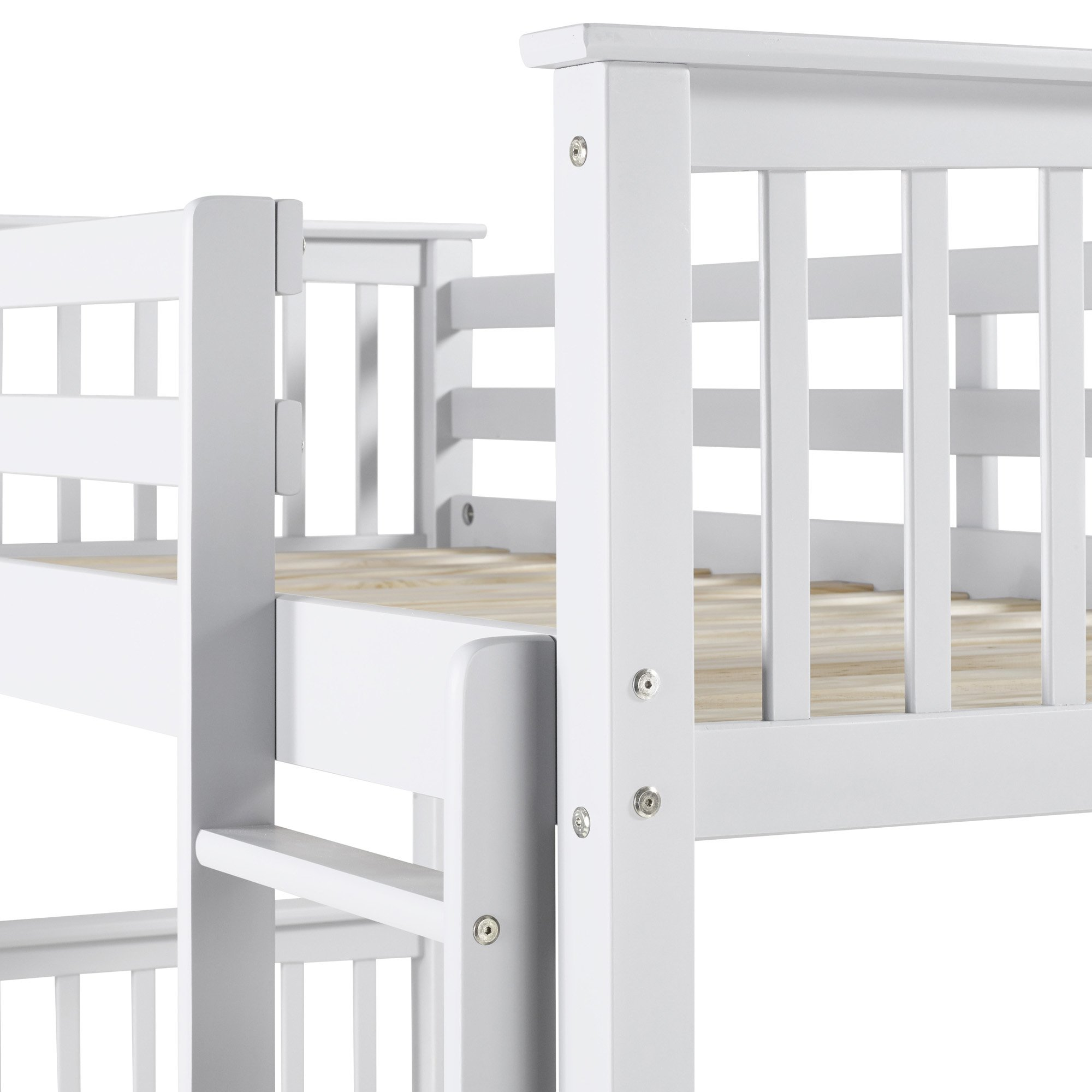 WE Furniture Solid Wood Twin Bunk Bed with Trundle Bed - White