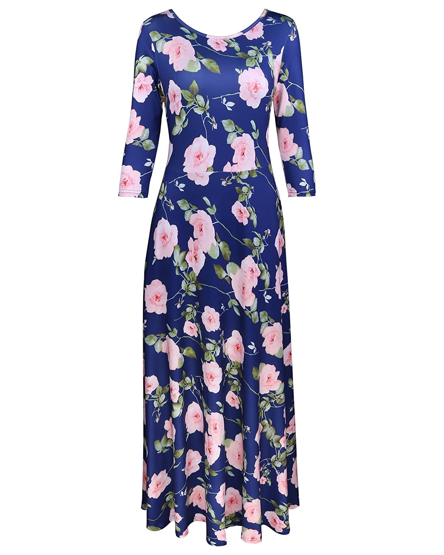 Kilig Women's 3/4 Sleeve Pockets Casual Maxi Long Dress
