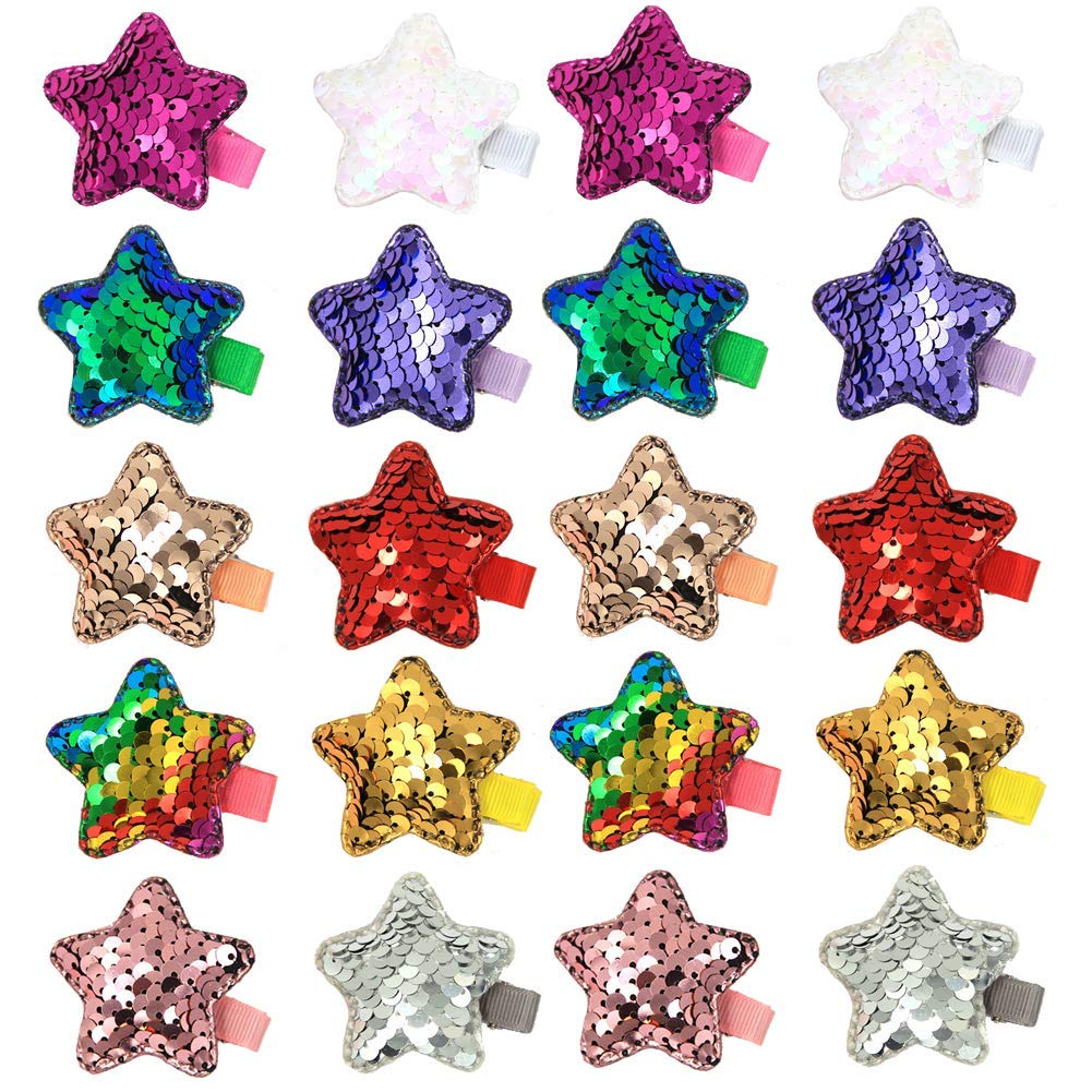 inSowni 10 Pairs Alligator Hair Clips Sparkling Reversible Sequin Pigtail Hairbow Barrettes Set for Baby Girl Toddlers Kids (20PCS S3)
