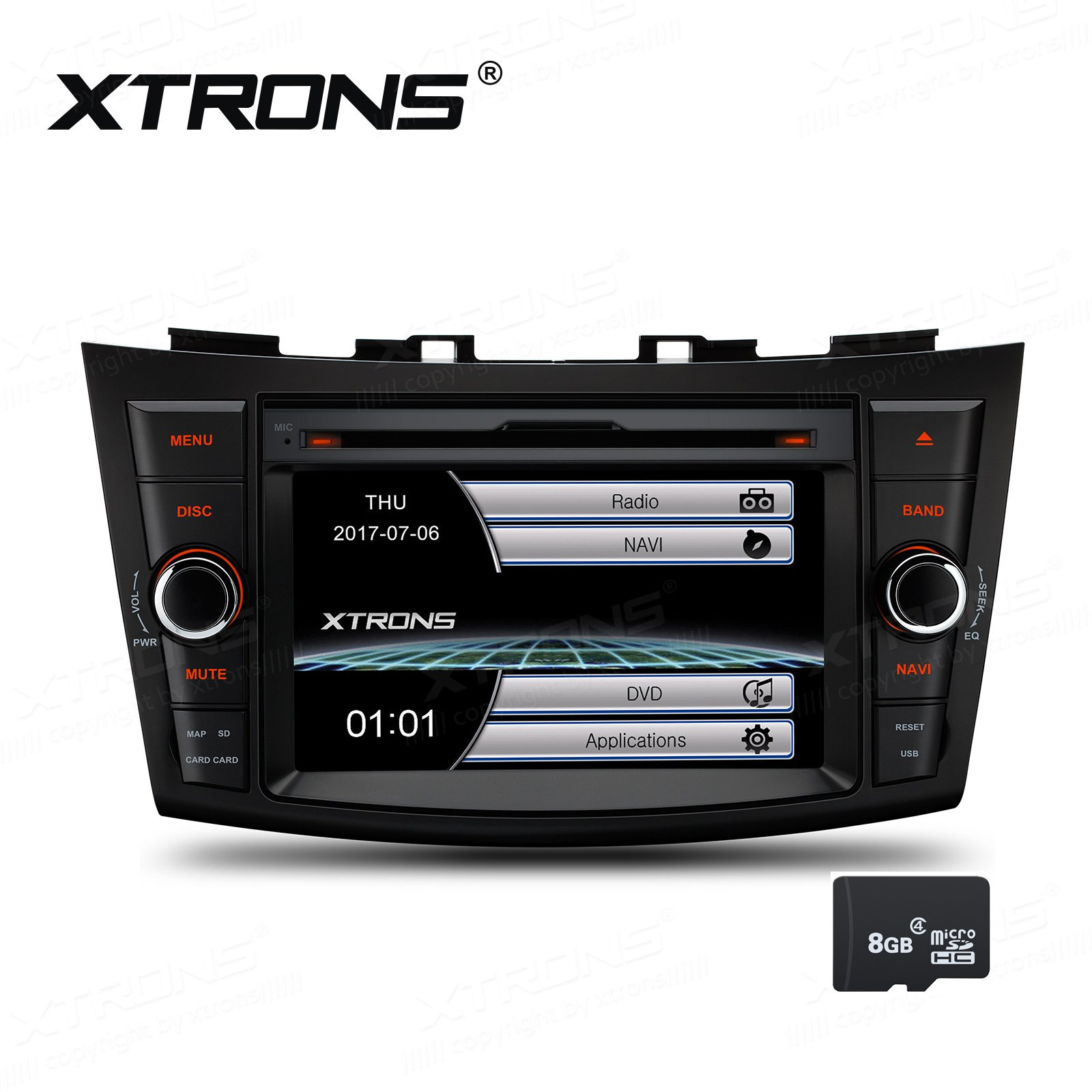 XTRONS 7 Inch HD Digital Touch Screen Car Stereo In-Dash DVD Player with GPS CANbus Screen Mirroring for Suzuki Swift Ertiga Kudos Map Card Included by XTRONS
