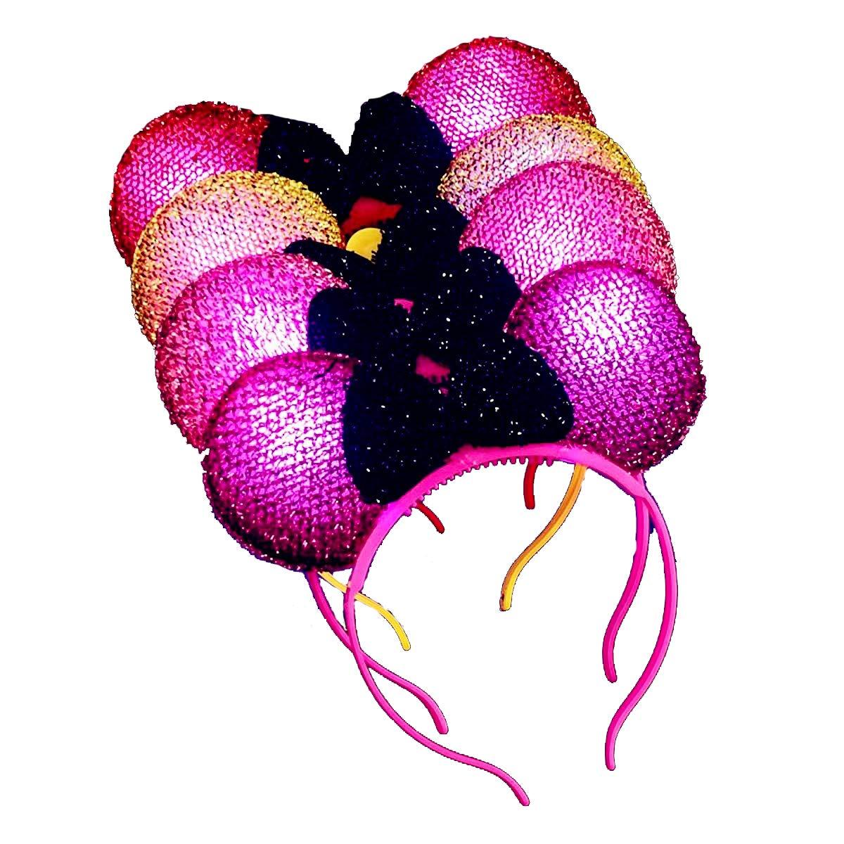 4 Teile/satz Die Neueste Mode LED Beleuchten Spitze Mickey Stirnband Kopfschmuck Minnie Haarband Stirnband Mickey Maus Kopfschmuck Beleuchten Spielzeug Konzert Weihnachten Halloween Party (Farbmischun Made in China mousse-2317