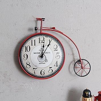 Longless salón retro dormitorio sala de bicicletas reloj de pared creativo decoraciones de pared relojes decorativos Mural 48 * 35cm: Amazon.es: Hogar