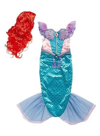 Disfraz de La Sirenita de Ariel con licencia oficial de Disney, con peluca roja y