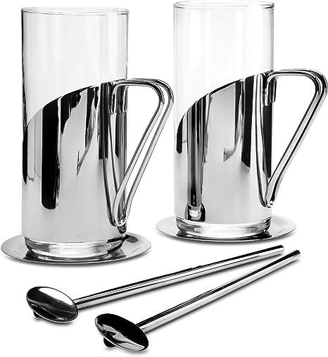 Kaffee-und Teegl/äsern L/öffel-Strohhalmen und Edelstahl-Untersetzern Kilo C75 Set mit 2 Latte glas