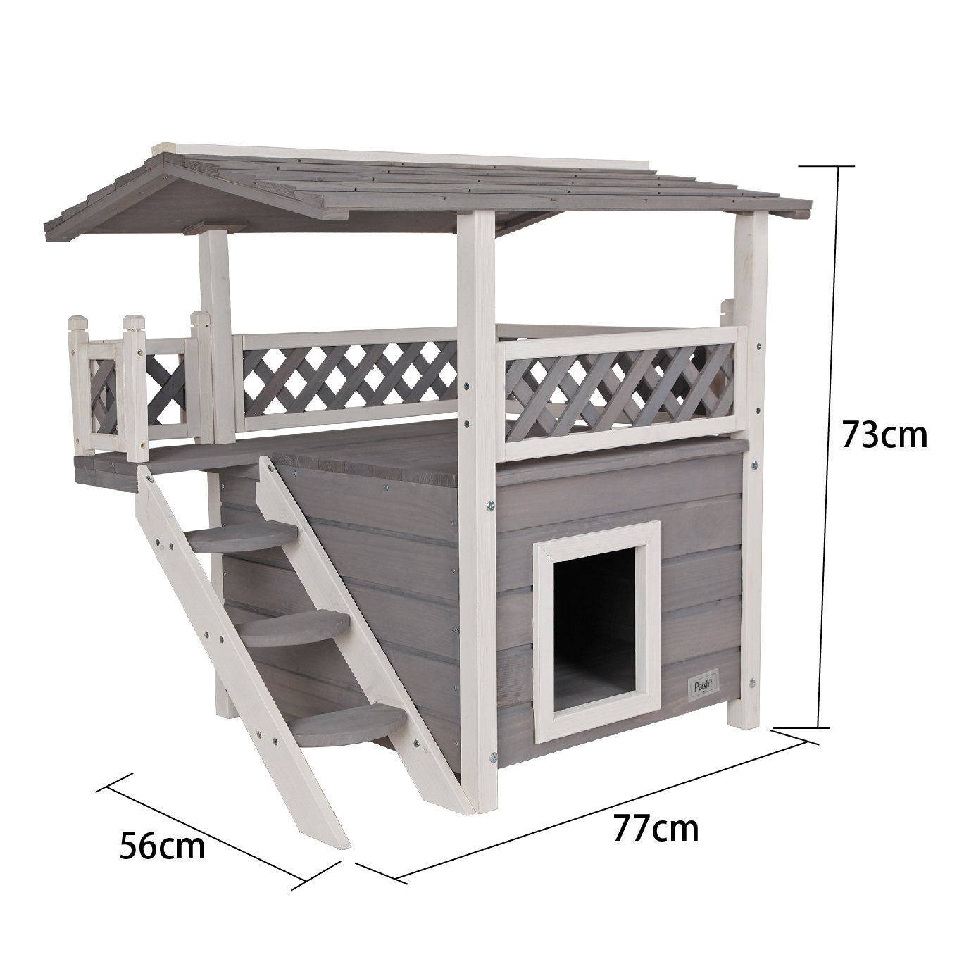Petsfit Cat House Lodge, Casa de madera de madera para interiores con lugar de descanso, casa de gato de dos pisos, color gris, 77 cm x 56 cm x 73 cm: ...