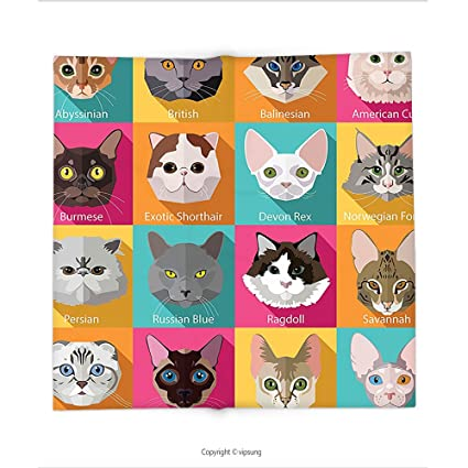 Manta de Custom printed con decoración de gatos. Colección popular razas de gatos birmana Abisinio