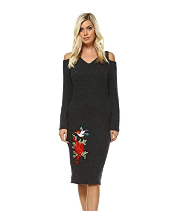 66e75db04a4 Image Unavailable. Image not available for. Color  WM Women s Taline Cut-Out  Shoulder Midi Sweater Dress Large Charcoal