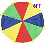Kids Play Parachute, HUICHUNAG Play Tents Sports Parachute Indoor&Outdoor with 8 Handles