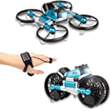 CANOPUS RC Quadcopter Drone, Blue, 2-in-1 Foldable into Motorbike, Easy to Fly Drone for all Kids, Beginners and Adults, Hand