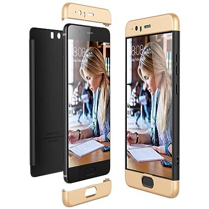 Funda Huawei P10 Plus, CE-Link Carcasa Fundas para Huawei P10 Plus, 3 en 1 Desmontable Ultra-Delgado Anti-Arañazos Case Protectora - Oro + Negro