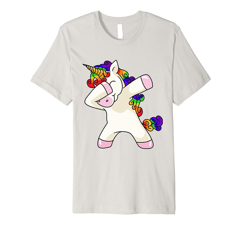 Unicorn cute dabbing T-Shirt Funny Dab Dance Rainbow Shirt-alottee gift