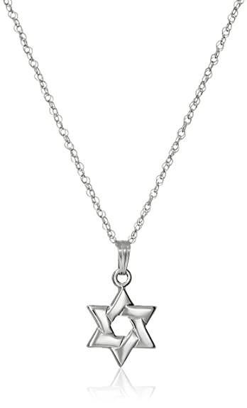 Amazon 14k white gold solid star of david pendant necklace 18 14k white gold solid star of david pendant necklace 18quot aloadofball Images
