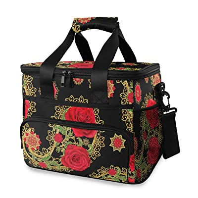 ALAZA Golden Brilliant Paisley Rose Flowers Large Cooler Insulated Picnic Bag Lunch Box for Adult Men Women : Garden & Outdoor