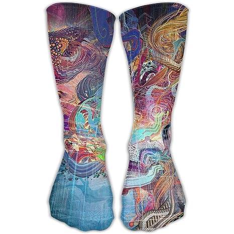 Calcetines de compresión para mujer y hombre, diseño de calavera abstracta, para mejor calcetines