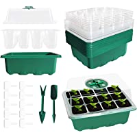 SEMNOZ Seed Starter Tray, 10 Sets Humidity Adjustable Plant Germination Trays for Greenhouse Garden, Plant Seedling…