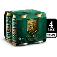 Baron's Strong Brew Lager Beer Can, 323ml (Pack of 4)