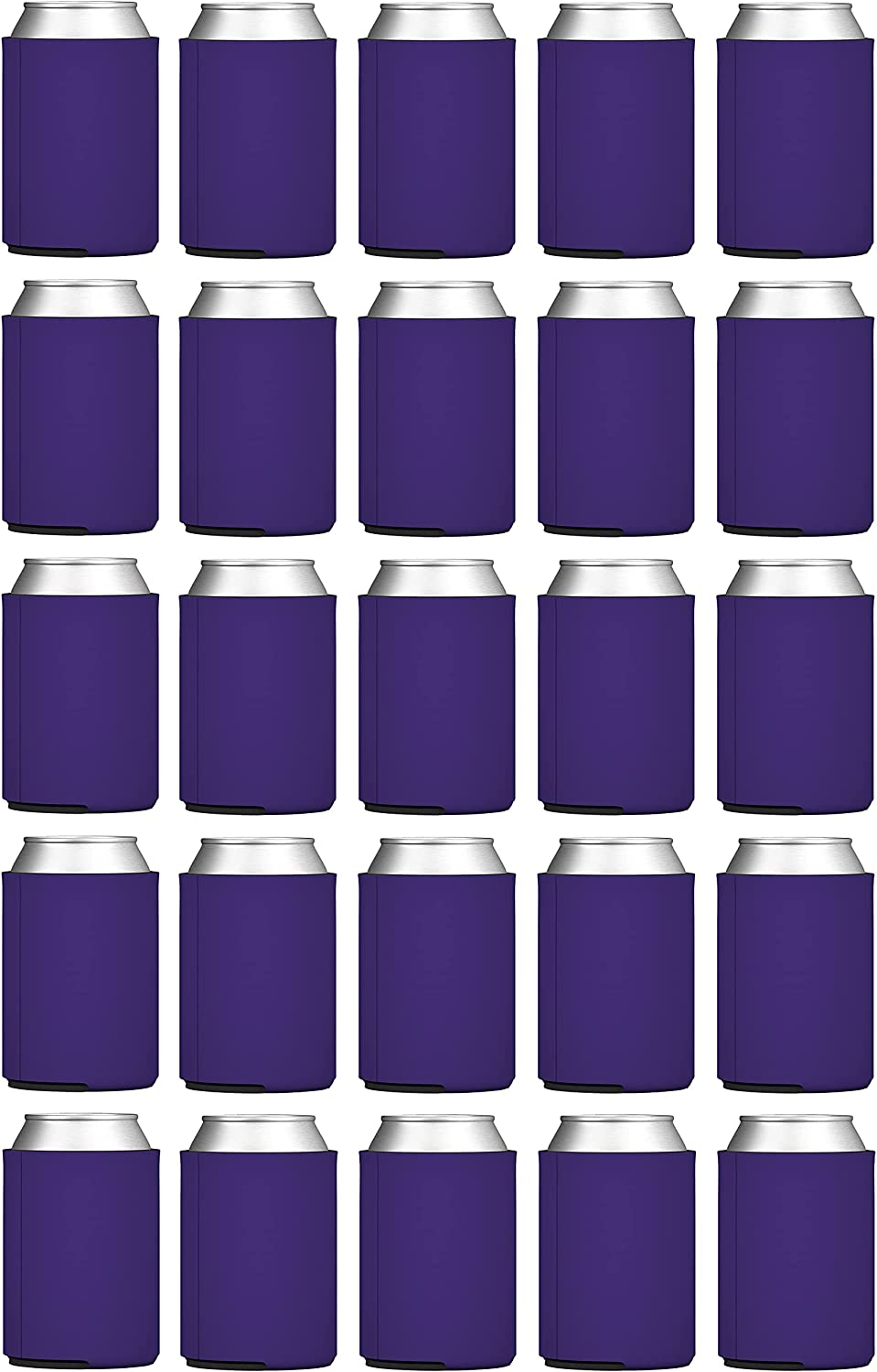 TahoeBay Blank Beer Can Coolers (25-Pack) Plain Bulk Collapsible Foam Soda Cover Coolies, Personalized Sublimation Sleeves for Weddings, Bachelorette Parties, HTV Projects (Purple)