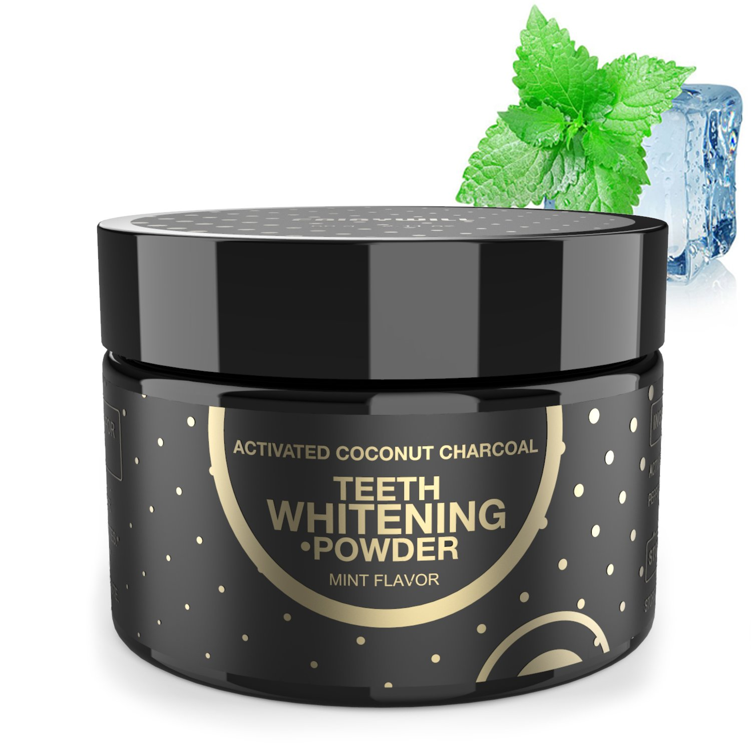 Charcoal Teeth Whitening Activated Charcoal Powder, Proven Safe for Enamel Peppermint Natural Coconut Charcoal Powder 2.11 oz Whitening Teeth Easy by Fairywill