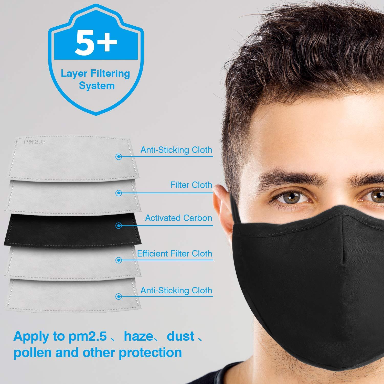 8 Piezas M/áscara Contra Polvo Mascarilla Facial Reutilizable Lavable M/áscara de Contaminaci/ón de Part/ículas con 16 Piezas Filtro de Carb/ón Activado para PM2.5 Correr Ciclismo Actividades al Aire Libre