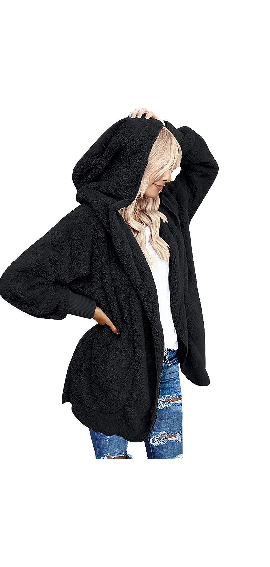 Womens Fuzzy Fleece Open Front Hooded Cardigan Jackets