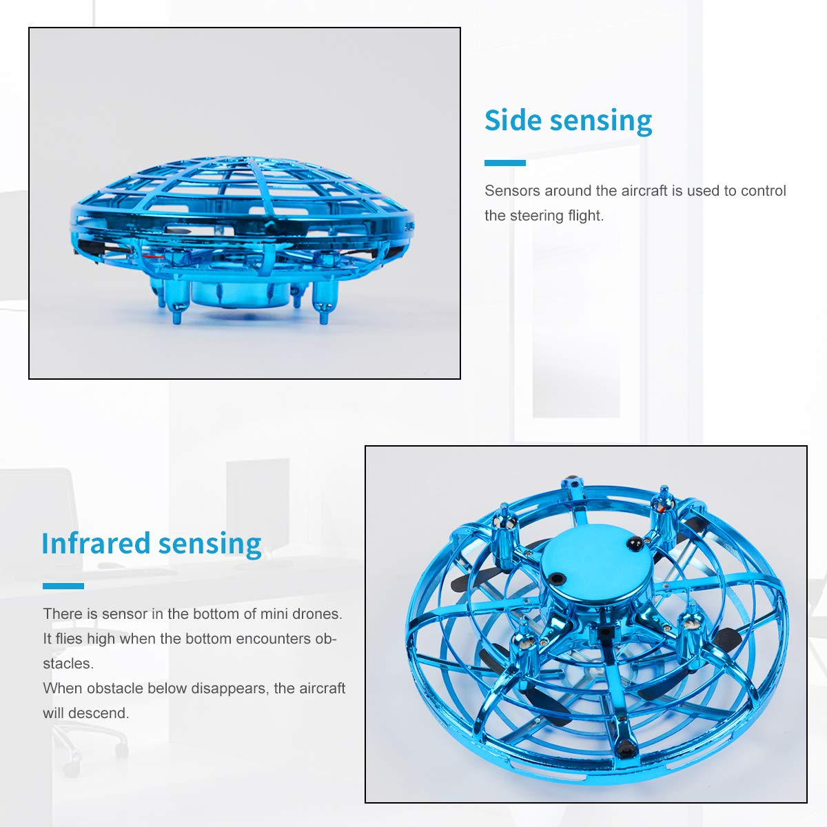 Oucles Mini Drones for Kids and Adults Ball with 360° Rotating and Shinning LED Lights, Flying Toy for Boys Girls and Kids Gifts by Oucles (Image #3)