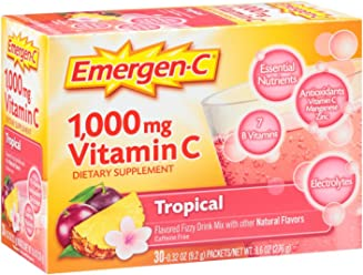 Emergen-C (30 Count, Tropical Flavor, 1 Month Supply) Dietary Supplement Fizzy Drink Mix with 1000mg Vitamin C, 0.32 Ounce Packets, Caffeine Free