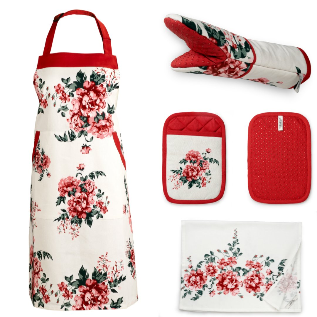 Set of Apron include Bib Apron (1), Oven Mitt (1), Pot Holder (1), Kitchen Towel (1), Beautiful Flower Design, 100% Cotton Kitchen Linen Set, Ideal Kitchen Gift, Perfect Mothers Gift